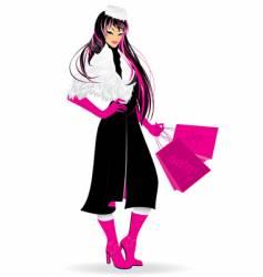 pink winter girl vector image