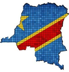Democratic republic of the congo map with flag vector