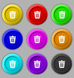 Bin icon sign symbol on nine round colourful vector