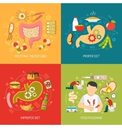 Digestion concept icons set vector