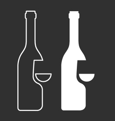 Wine sampling icon - bottle and glass silhouette vector