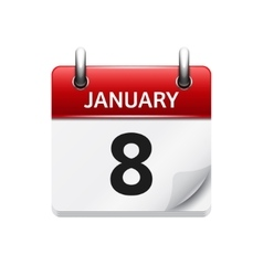 January 8 flat daily calendar icon date vector