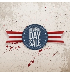Memorial day sale textile badge and ribbon vector