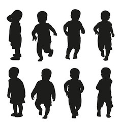 Action kids silhouette vector