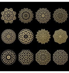 Set of twelve gold mandalas Geometric circle vector image