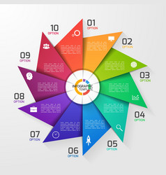 Windmill style infographic template 10 options vector