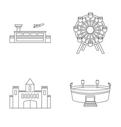 Airport ferris wheel stadium castlebuilding vector