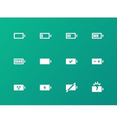Battery icons on green background vector image