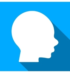 Boy head flat long shadow square icon vector
