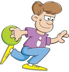 Cartoon boy bowling vector image vector image
