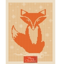 Christmas greeting card with knitted fox vector