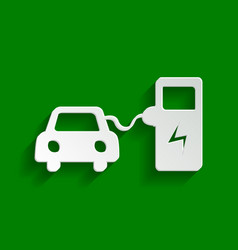 Electric car battery charging sign paper vector