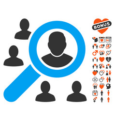 find users icon with lovely bonus vector image vector image