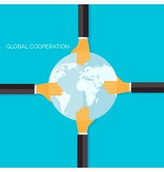 Flat background with handsGlobal cooperation and vector image