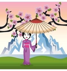 Girl japanese kimono welcome japan icon vector