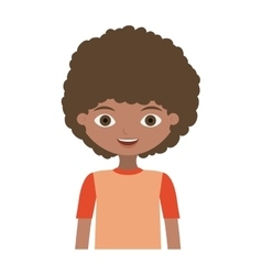 Half body child with curly hair and t-shirt vector