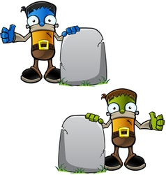 Halloween Monster With Gravestone vector image vector image