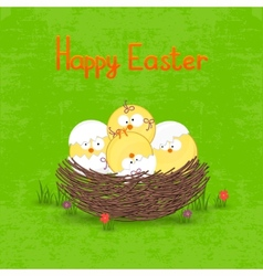 Happy Easter card template basket with eggs vector image