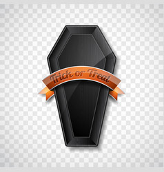 happy halloween with shiny black wood coffin on vector image vector image