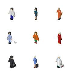 Isometric people set of housemaid medic vector