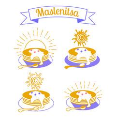 maslenitsa set icons vector image