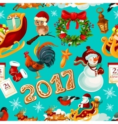New year and christmas holidays seamless pattern vector