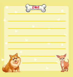 Paper template with cute dogs vector