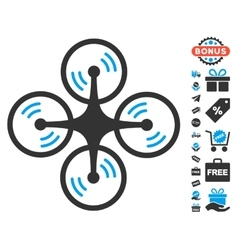 Quadcopter screw rotation icon with free bonus vector