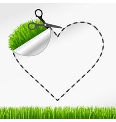 Scissors cut heart sticker green grass vector