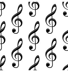 Seamless musical treble clef pattern vector