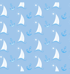Seamless pattern sailboat on waves and an anchor vector
