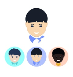 Set of icons with faces of boys vector
