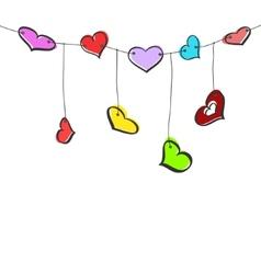 Sketch hearts garland vector image vector image