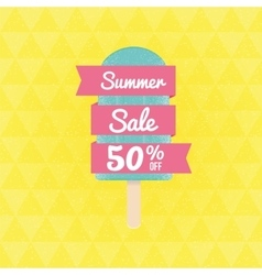 Summer Sale 50 per cent off with ice-cream and vector image