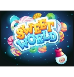 Sweet world GUI game window candy shooter vector image vector image