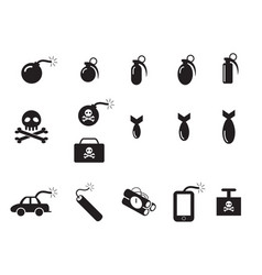 Tnt and poison bomb icons in silhouette style vector