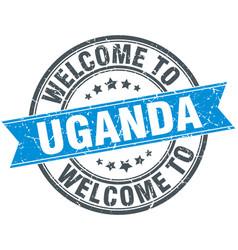Welcome to uganda blue round vintage stamp vector