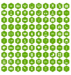 100 medical icons hexagon green vector