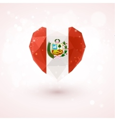 Flag of peru in shape diamond glass heart vector