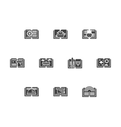 Library black monochrome icons set vector