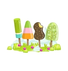 Ice cream and frozen fruit trees fantasy candy vector