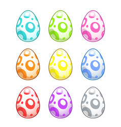 Cute colorful painted eggs set vector