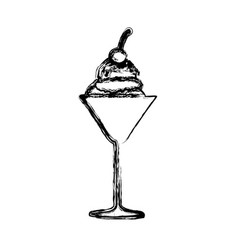 blurred silhouette ice cream ball glass cup with vector image