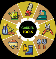 Infographic set of garden tools vector
