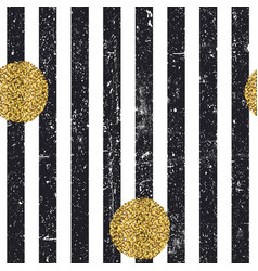 Black textured lines and chaotic golden dots vector