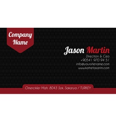 Black red corporate business card vector image