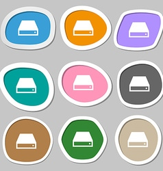 Cd-rom icon symbols multicolored paper stickers vector