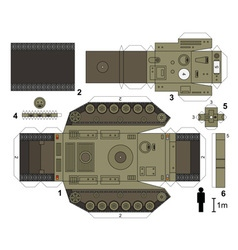 Paper model of a heavy tank vector