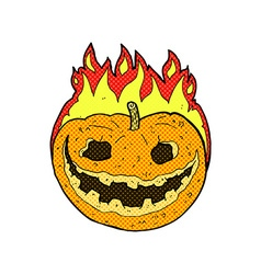 Comic cartoon spooky pumpkin vector