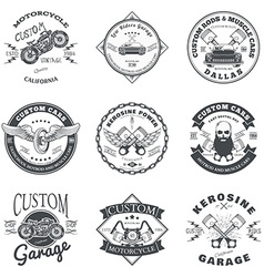 Set of Custom Car and Bike Garage Label and Badge vector image